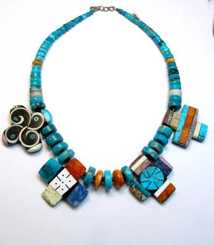 Image 0 of One of a kind Santo Domingo Mosaic Inlay Turquoise Choker Necklace, Mary Tafoya