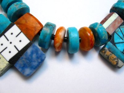 Image 5 of One of a kind Santo Domingo Mosaic Inlay Turquoise Choker Necklace, Mary Tafoya