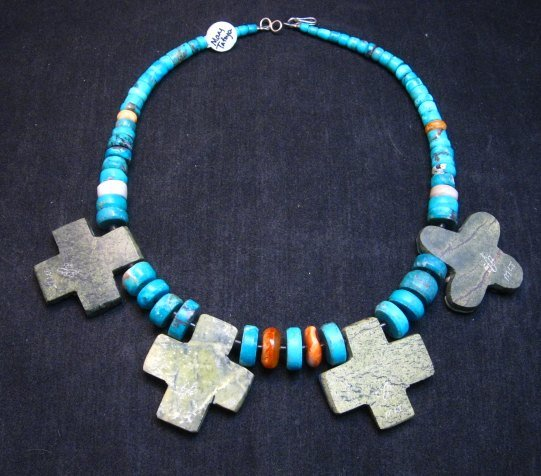 Image 8 of One of a kind Santo Domingo Mosaic Inlay Turquoise Choker Necklace, Mary Tafoya