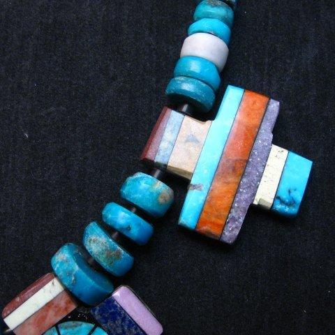 Image 5 of One of a kind Santo Domingo Mosaic Inlay Turquoise Choker Necklace, Mary Tafoya