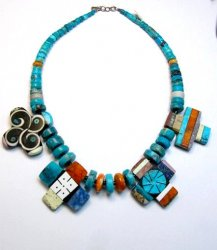 One of a kind Santo Domingo Mosaic Inlay Turquoise Choker Necklace, Mary Tafoya