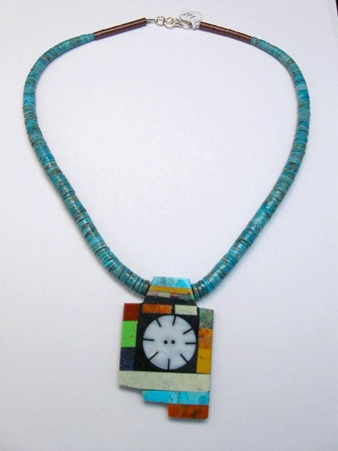 Image 0 of Mary Tafoya Santo Domingo Indian Multi-Stone Turquoise Necklace