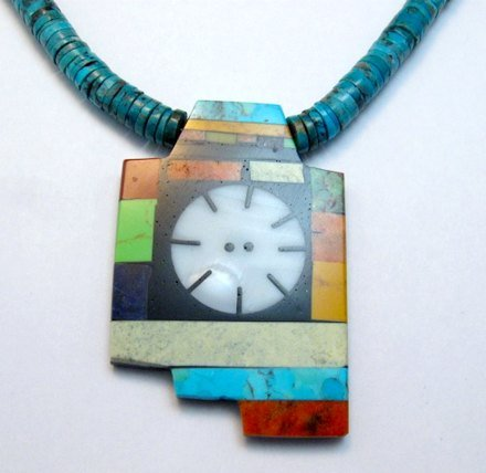 Image 1 of Mary Tafoya Santo Domingo Indian Multi-Stone Turquoise Necklace