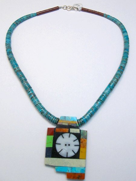 Image 4 of Mary Tafoya Santo Domingo Indian Multi-Stone Turquoise Necklace
