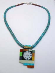 Mary Tafoya Santo Domingo Indian Multi-Stone Turquoise Necklace