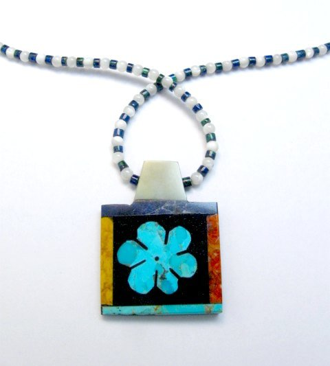 Image 0 of Colorful Santo Domingo Turquoise Inlay Flower Necklace, Mary Tafoya