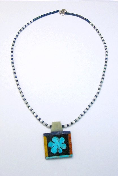 Image 1 of Colorful Santo Domingo Turquoise Inlay Flower Necklace, Mary Tafoya