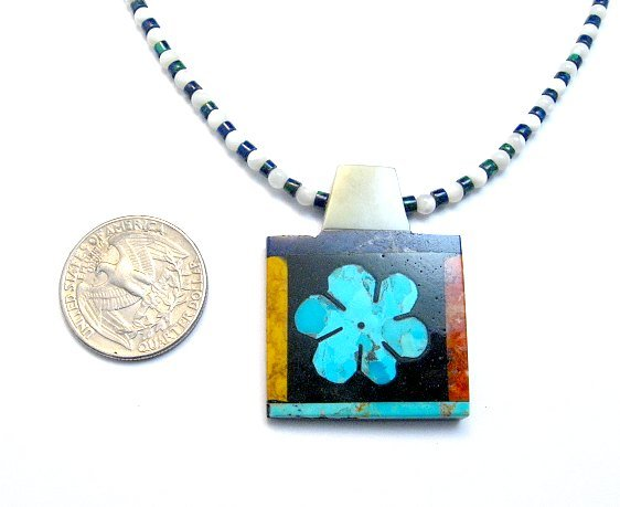 Image 2 of Colorful Santo Domingo Turquoise Inlay Flower Necklace, Mary Tafoya