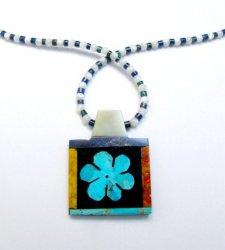 Colorful Santo Domingo Turquoise Inlay Flower Necklace, Mary Tafoya