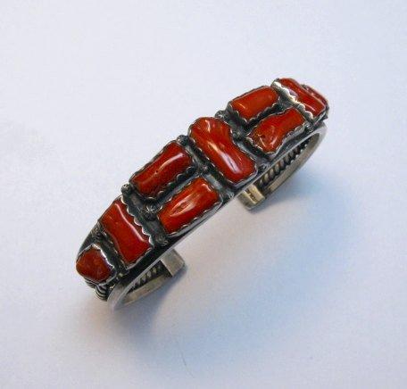 Image 0 of Vintage Native American Coral Silver Bracelet, hallmarked VB
