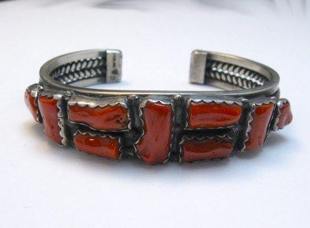 Image 1 of Vintage Native American Coral Silver Bracelet, hallmarked VB