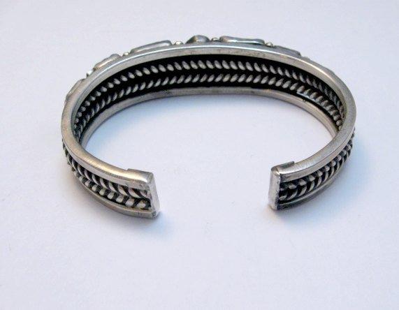 Image 2 of Vintage Native American Coral Silver Bracelet, hallmarked VB