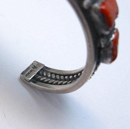 Image 4 of Vintage Native American Coral Silver Bracelet, hallmarked VB