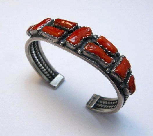 Image 5 of Vintage Native American Coral Silver Bracelet, hallmarked VB