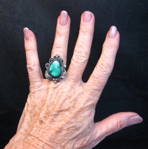 Image 2 of Vintage Native American Turquoise Silver Ring sz5