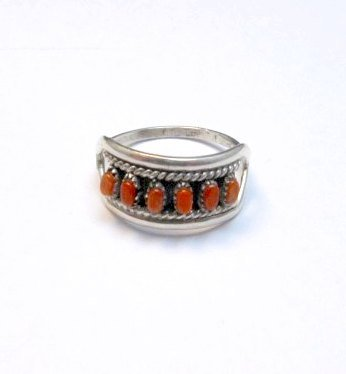 Image 0 of Vintage Zuni Native American Coral Row Silver Ring sz5-1/2