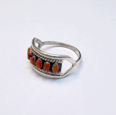 Image 1 of Vintage Zuni Native American Coral Row Silver Ring sz5-1/2