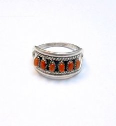 Vintage Zuni Native American Coral Row Silver Ring sz5-1/2