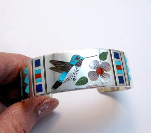 Image 0 of Zuni Jewelry Inlay Hummingbird Silver Bracelet, Ruddell and Nancy Laconsello