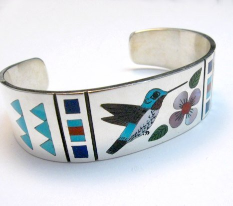 Image 1 of Zuni Jewelry Inlay Hummingbird Silver Bracelet, Ruddell and Nancy Laconsello