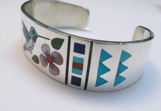 Image 2 of Zuni Jewelry Inlay Hummingbird Silver Bracelet, Ruddell and Nancy Laconsello