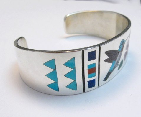 Image 4 of Zuni Jewelry Inlay Hummingbird Silver Bracelet, Ruddell and Nancy Laconsello
