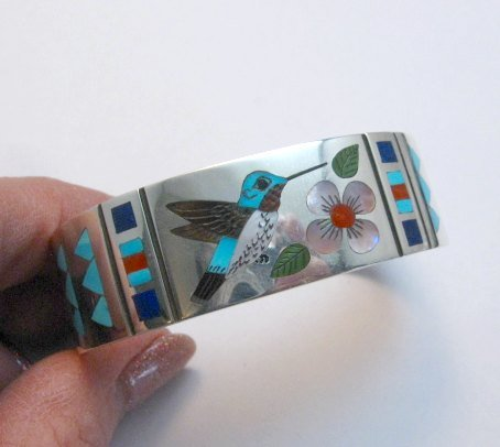 Image 5 of Zuni Jewelry Inlay Hummingbird Silver Bracelet, Ruddell and Nancy Laconsello