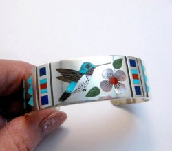 Zuni Jewelry Inlay Hummingbird Silver Bracelet, Ruddell and Nancy Laconsello