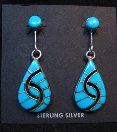 Image 0 of Amy Wesley Zuni Turquoise Hummingbird Dangle Earrings