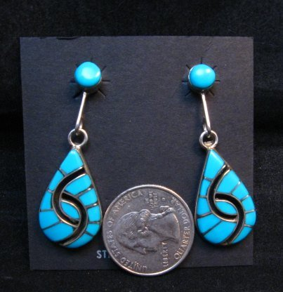 Image 2 of Amy Wesley Zuni Turquoise Hummingbird Dangle Earrings