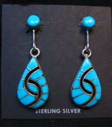 Amy Wesley Zuni Turquoise Hummingbird Dangle Earrings