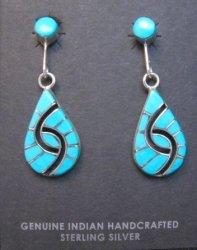 Amy Quandelacy Zuni Turquoise Hummingbird Dangle Earrings