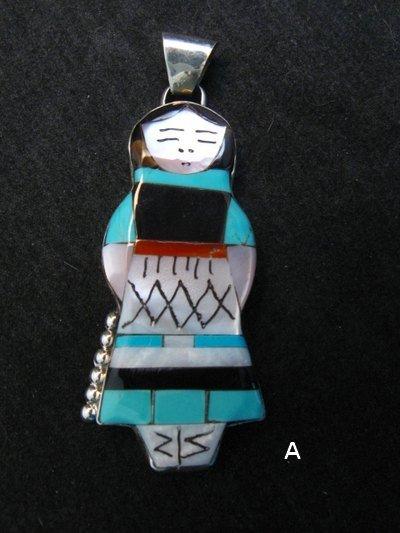Image 0 of Big Zuni Native American Turquoise Indian Maiden Pendant, Joyce Waseta