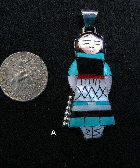 Image 3 of Big Zuni Native American Turquoise Indian Maiden Pendant, Joyce Waseta