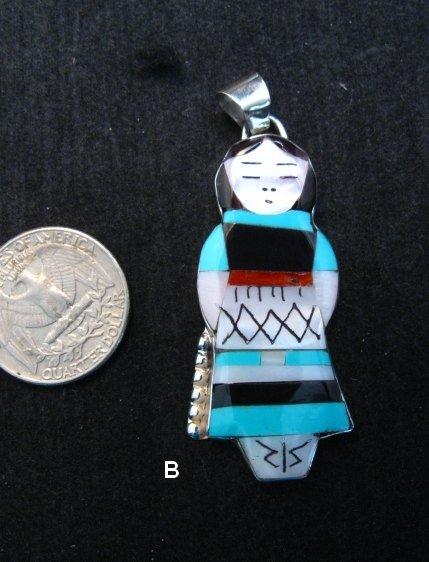 Image 4 of Big Zuni Native American Turquoise Indian Maiden Pendant, Joyce Waseta