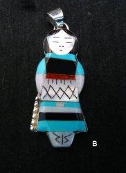 Big Zuni Native American Turquoise Indian Maiden Pendant, Joyce Waseta