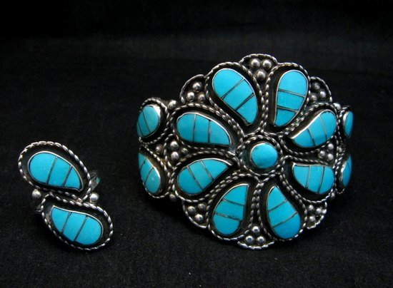 Image 0 of Zuni Susie Lowsayatee Sleeping Beauty Turquoise Silver Inlay Bracelet