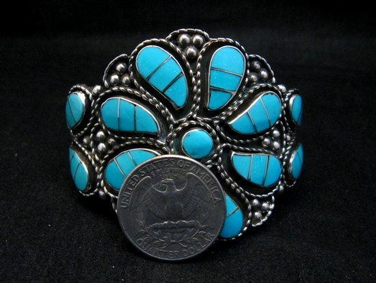 Image 10 of Zuni Susie Lowsayatee Sleeping Beauty Turquoise Silver Inlay Bracelet