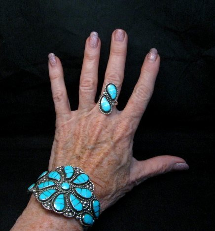 Image 11 of Zuni Susie Lowsayatee Sleeping Beauty Turquoise Silver Inlay Bracelet