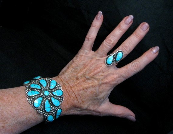 Image 1 of Zuni Susie Lowsayatee Sleeping Beauty Turquoise Silver Inlay Bracelet