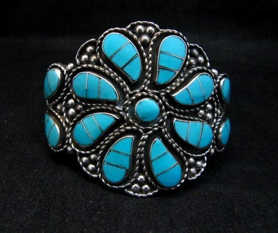 Image 2 of Zuni Susie Lowsayatee Sleeping Beauty Turquoise Silver Inlay Bracelet