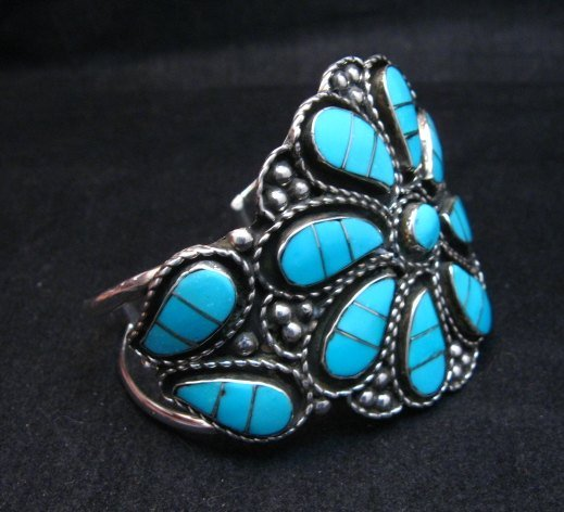 Image 3 of Zuni Susie Lowsayatee Sleeping Beauty Turquoise Silver Inlay Bracelet
