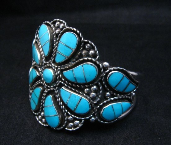 Image 4 of Zuni Susie Lowsayatee Sleeping Beauty Turquoise Silver Inlay Bracelet