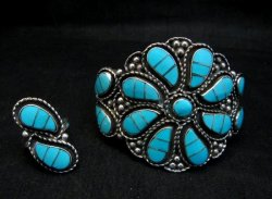 Zuni Susie Lowsayatee Sleeping Beauty Turquoise Silver Inlay Bracelet