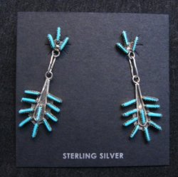 Zuni Turquoise Needlepoint Silver Dangle Earrings