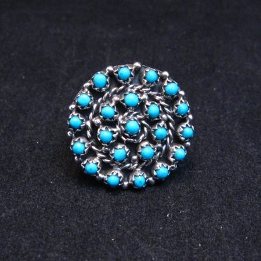 Image 0 of Randy Hooee Zuni Turquoise Petit Point Cluster Ring sz8
