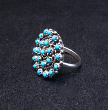Image 1 of Randy Hooee Zuni Turquoise Petit Point Cluster Ring sz8