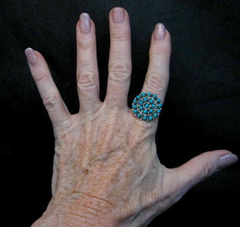 Image 3 of Randy Hooee Zuni Turquoise Petit Point Cluster Ring sz8