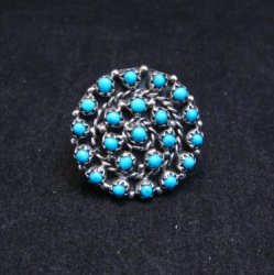 Randy Hooee Zuni Turquoise Petit Point Cluster Ring sz8