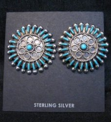 Zuni Turquoise Needlepoint Cluster Earrings, Philander Gia